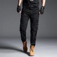 Original Luyzjzen Mens Treino Calças Solta Estilo Militar Calças Longas Camo Straight Tactical Casual com Multi Pocket 44 Men's