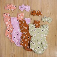 Clothing Sets 2pcs 0-2Years Born Baby Girls Summer Cotton Clothes Sets,Summer Cool Sweet Cute Daisy Printing Sleeve Romper+Headwear Set