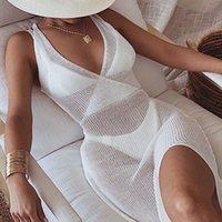 여름 화이트 니트 비치 드레스 여성 휴일 섹시한 수영 Bikinis 커버 UPS Dresses Backless Maxi Robe Plage Beachwear