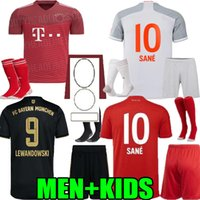 2020 2021 2022 Bayern Home Away Munique Riberaria Hummels Jerseys Men Kids Kit 20 21 22 Vidal Lewandowski Muller Sane Criança Futebol Uniforme