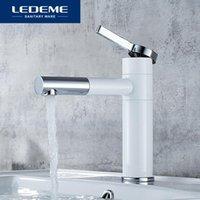Faucets de pia do banheiro Faucet Ledeme Bacia Torneira Branco Punho de Lavatório Hole de Água Vanity Banho Misturador Torneira Solid L1152