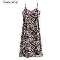 섹시한 백리스 동물 얼룩말 프린트 슬링 드레스 여자 빈티지 스파게티 스트랩 라인 슬림 중간 롱베이스 드레스 210414