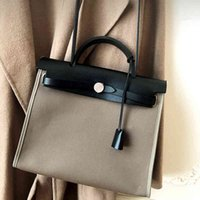 h Family 2020 New Kely Leather Paul Color Matching Canvas Portable Shoulder Women's Bag Birkin Have Logo