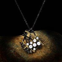 Collana con pendente geometrica con cavità femmina vintage 14kt nero collane in oro nero per le donne punk bianche perla catene di nozze