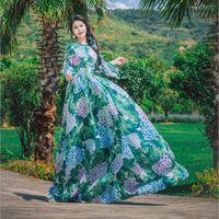 Casual Dresses Autumn Green Floral Maxi Dress Long Sleeve Tropical Beach Vintage Ladies Boho Belt Lace Up Tunic Draped