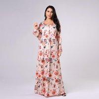 Elegant Printed Sprig Muslim Women Long Sleeve Maxi Dress Dubai Fashion Hijab Ethnic Clothing