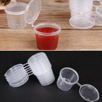 50Pcs Set Plastic Small Sauce Cups Storage Containers Clear Boxes + Lids 25ml 40ml Wine Glasses