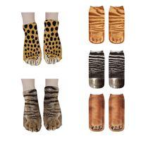Socks 3d Leopard Tiger Animal Sos Cute Girl Kawaii Cat Dog Creative Autumn Sports Casual Unisex Soft Cotton Short