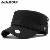 Brand Eagleborn 2021 Coton Unisexe Hommes Femmes Top Cap Top Cap Militaire Chapeaux Classique Solide Couleur Visière Chapeau Été automne Large