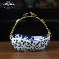New Home Chinese Style Creative House Ceramics with Copper Crafts Antique Hand Painted Decorations Living Room Tea Table Fruit Plate
