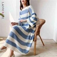 Lanmrem Stripe Crupe Cruche Pull Sweater Femmes Automne Hiver Vintage Vintage Vintage Longue Robe Femelle PC442 210812