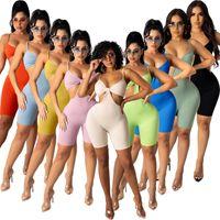 2021 Yaz Kadın Tulum Tasarımcısı V Yaka Katı Renk Çukur Kayışı Onesies Seksi Oymak Sling Şort Ince Tulum Moda Rahat Giyim