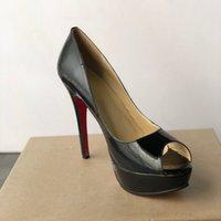 2021 Lüks Tasarımcı Yüksek Topuklu Kadın Ayakkabı Kırmızı Alt Yüksek Topuklu 13 cm Çıplak Siyah Deri Seksi Süper Yüksek Topuklu Balo Ayakkabı Elbise Ayakkabı