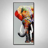 Pintado a mano Pintura al óleo Elefante Animal Colgando Moderno Simple Entrada Porche Sala de estar decorativa Corredor vertical