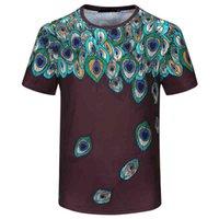 Homens t - shirts SS camiseta T-shirt dos homens de manga curta pavão Pena impresso em torno do pescoço alta rua Algodão topo Europeu e americano moda tp39