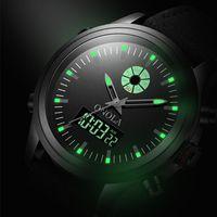 Saat Saatleri Onola Marka Reloj Militar Deportivo Duradero Para Hombres De Alta Calidad Orgin, Pulsera Luminoso LED Doble Pantalla