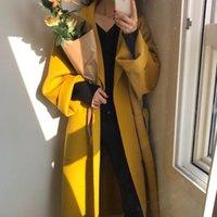 Frauen Winter Revers Wolljacke Woolen Lange Mantel Strickjacke Elegante Warme Lose Bandage Outwear mit Tasche schwarz gelb