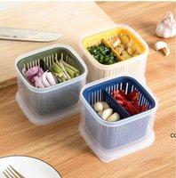 Kunststoff Obst Aufbewahrungsbox 2 Gitter versiegelt Crisper Körner Tank Küche Sortieren Lebensmittel Container Boxen DHE8090