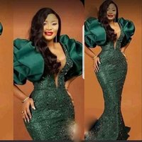 2021 Aso Ebi Dark Green Evening Dresses With Puff Sleeves Beads Sequined Lace Mermaid Prom Gowns Plus Size Special Occasion Party Dress For African Women Black Girls