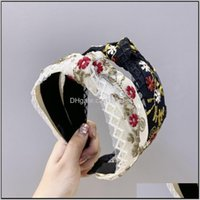 Embroidered Flower Hairband Headwear Wide Knotted Hoop Women Girl'S Lace Bow Ribbon Headbands Hair Accessories Headwrap Eed3W Keq07