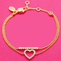 Luxury Jewelry Korean Version Net Red Temperament Simple Inlaid Love Single Row Diamond Double Layer Bracelet Fashion Versatile Jewelry Gift Girl