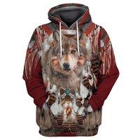 Women's Hoodies & Sweatshirts Fashion Autumn Hoodie Beautiful Tribal Native Wolf 3D Full-body Print Men's Zipper Unisex Casual Street Sweats