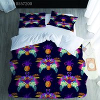 Bedding Sets 3D Print Cartoon Set Pineapple Leaves Duvet Cover For Kids Bedroom Comforter Queen Size Black Bed