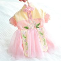 Chinoiserie Spring Dog Fancy Dress Lovely Girl Puppy Outfits Clothing Small Dogs Yorkies Skirt Princess Pet Clothes For Cats Apparel