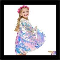 Vestuário bebê, entrega de gota de maternidade 2021 Halloween garota capa sereia lantejoulas desempenho desempenho bebê cosplay trajes capa crianças princesa