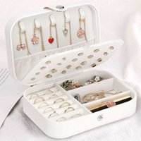 Jewelry box for earrings ring necklaces storage PU leather jewelry Portable organizer Travel case X0703