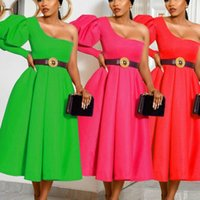 African Dresses For Women One Shoulder Lantern Sleeve High Waist Christmas Evening Party Dress Ladies Birthday Vestidos Clothes Ethnic Cloth
