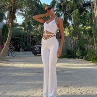 Casual Dresses ins style short tie neck open navel top pleated micro pants two piece women's suit