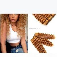 9A Malaisien Honey Cheveux Blonde Helfeufs Strawberry Hair Cheveux Humains 3 Bundles # 27 Brun clair Deep Vierge Virgy Hair Extensions de trame