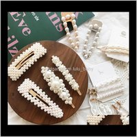 Clips & Barrettes Drop Delivery 2021 Fashion Pearl Clip Snap Barrette Stick Hairpin Hair Styling Aessories For Women Girl Jewelry T206 Az4Ak