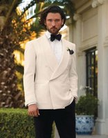 Men's Suits & Blazers Ivory Wedding Tuxedos For Men Shawl Lapel Formal Mens Double Breasted Grooms Suit (jacket+pants)