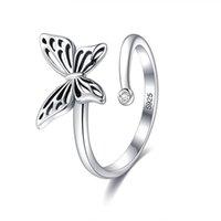 Sterling Silber Ring Schmetterling Offene Ringe für Frauen Vintage Punk Nette Katze Perlenringe Für Mädchen Hochzeit Schmuck 740 Z2