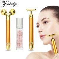 Energy Beauty Bar 24k Goldene vibrierende Gesichtsrolle Massagegerät Gesichtheben Anti-Falten Hautpflege Edelstein Roller Ball Set Box Q0607