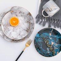 الألواح الرخامية الأطباق السيراميك الذهب البطانة الخزف الحلوى لوحة ستيك سلطة سلطة وجبة خفيفة كعكة لوحات المائدة أواني المائدة 8 كماشة 842 x2