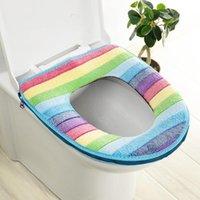 Gökkuşağı Mercan Kadife Klozet Kapağı Kış Sıcak Klozet Yüzük Kapak Banyo Tuvalet Dekorasyon Gökkuşağı Koltuk Yastık Pedleri BWF9027
