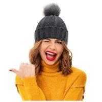 Beanie Skull Caps Women Fur Hat For Winter Thermal Knitted Pompom Skullies Beanies Female Pom Headgear Warm Cap