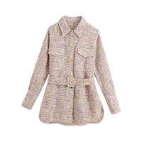 The Cross-Border Europe y Estados Unidos Ropa de mujer al por mayor otoño 2711 Match Chatelaine Tweed Coat Chalets