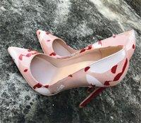 진짜 사진 최고 품질의 펌프 특허 가죽 높은 뒤꿈치 신발 인쇄 여성 빨간색 바닥 상자가 뾰족한 발가락 size34-44