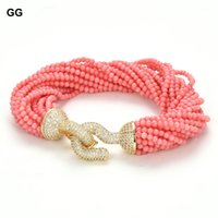 20 Rows Pink Coral Smooth Round Beads Bracelet Gold Color Plated CZ Pave Clasp 8.5'' For Women