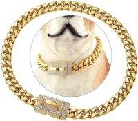 Kuba Hundekettengürtel Halsbänder voller Diamantschnalle Kragen Edelstahl Gold Pet Halskette 10mm 14mm Kristall Goldene Halsketten