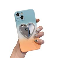 Diamond Mirror Cases For iPhone 13 11 12 Pro Max Gradient Color Women Love Mirrors Silcone Phone Protective Shell Back Cover Shockproof Anti-fall