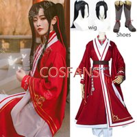 Anime Tian Guan Ci Fu Cosplay Costumes Hua Cheng Cosplay San Lang Red Sets Hua Cheng Wigs Party Costumes Halloween wig and shoes G0913