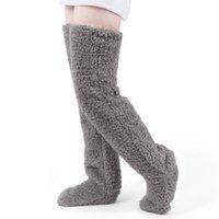Inverno peluche sopra il ginocchio calze al ginocchio donne calze calze termiche calda calda calda calza gamba calda per le gambe più calda femmina wamer sport