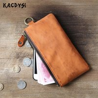 Wallets Real Vegetable Tanned Leather Retro Men Long Zipper Wallet Women Slim Day Clutches Man Purse ID Holder Cellphone Bag