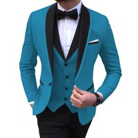 Blue short menswear 3 pieces black evening dress Lapel best man wedding menswear 2020 (jacket + Vest + pants) J0528