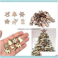 Festive Party Supplies Home & Garden100 Pcs Decorations Snowflake Wood Embellishment Tree Elk Decoration Gifts Diy Christmas Aessories Bh211